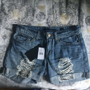 Nordstrom SP Black The Label Boyfriend Jean Shorts